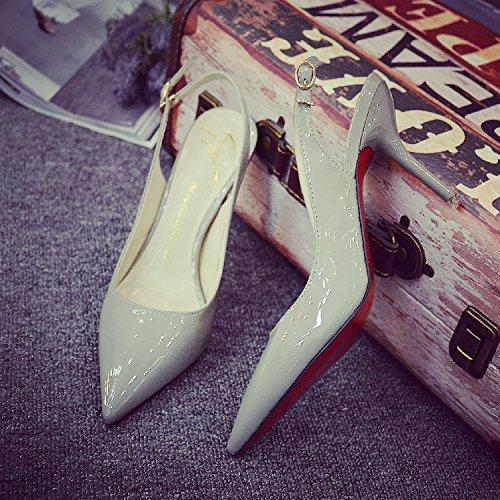 Chaussure Shaoge Printemps Et Été Un Mot Avec Des Chaussures Rouges Pointues Et Ol Avec Les Chaussures De Mariage En Cuir Verni Travail Femmes Sandali Par Donna Couleur Unie