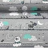 Erstklassiger Baumwollstoff 0,5lfm, 100% Baumwolle, modische Muster, Breite 160cm – Bären, Teddybär mit Zebra mintgrün