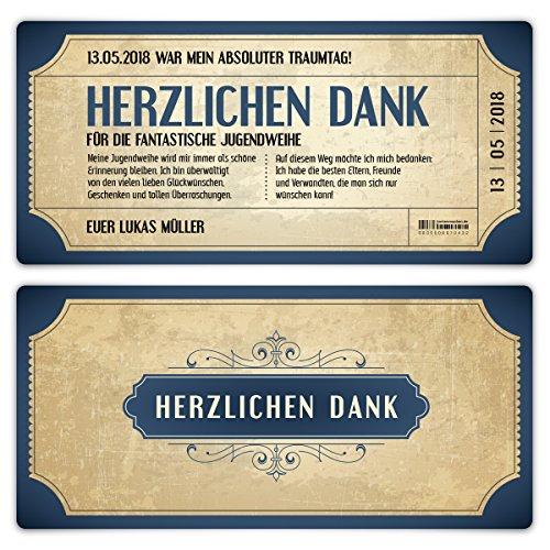 30 x Jugendweihe Dankeskarten Danksagungskarten Danksagung Jugendweihekarten - Vintage Eintrittskarten in Blau