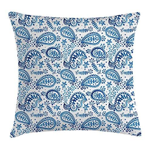 Pillow hats Paisley-Kissenbezug, mediterranes Design, handgezeichnete Blumen und Blätter, dekorativ, quadratisch, 45,7 x 45,7 cm, Blau und Weiß (Baumwolle Bunte Blatt König)