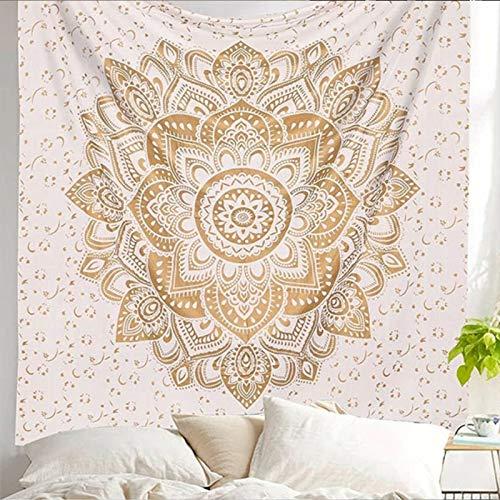 dbehang Wandtuch indisch Mandala Wandkunst Dekor (200x145cm) (#2 Gold und Weiß ★ Mandala Peace) ()