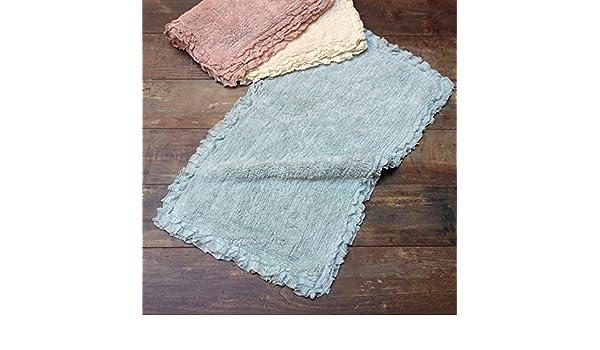 Tappeto bagno shabby chic ruffles collection colore acquamarina