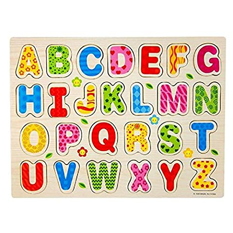 Wooden Jigsaw Puzzles, Rcool Baby Kids 26pcs Wooded Alphabet English Letters Puzzle Jigsaw Letter Blocks Toy Wisdom Development Educational Toy Set Child