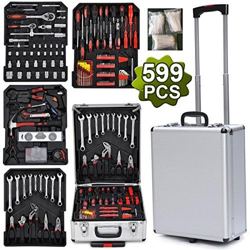 Yahee 599-teilige Universal Werkzeugsatz Werkzeugmappe im praktischen Koffer mit frei Handschuhe