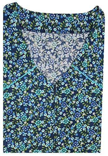 Tobeni Damen Kittelschürze mit Reissverschluss und Tasche ohne Arm 100 Baumwolle Grösse 60 Farbe Design 39 (Baumwolle Kontrast Farbe)