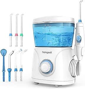 Munddusche Wasser Flosser homgeek Elektrisch Zahnpflege Oral irrigator Professionelle Zahnreinigung, 10 Stufenlose Wasserdruckeinstellungen 600ml Wassertank 7 Funktionsdüsen Ideal für Ganze Familie