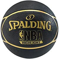 Spalding NBA Highlight Outdoor SZ.7 (83-194Z) balón de Baloncesto, Unisex Adulto, Negro/Dorado, 7