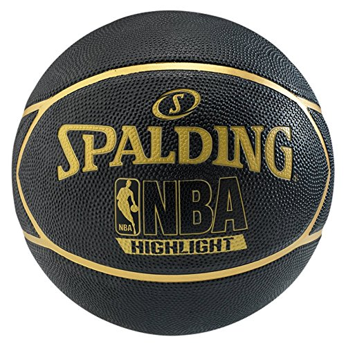 Spalding Ball NBA Highlight Outdoor, Schwarz/Gold - Größe 7