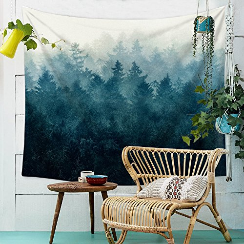 Misty Lluvia Verde Bosque, Blanco y Negro de bosque Besinnung Mandala bohemio...