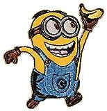 Unbekannt Bügelbild -  Minion - Phil / Jerry / Tom / Dave - mit Einer Banane  - 7,5 cm * 7,5 cm - Aufnäher Applikation - Minions / Ich einfach unverbesserlich - gesti..