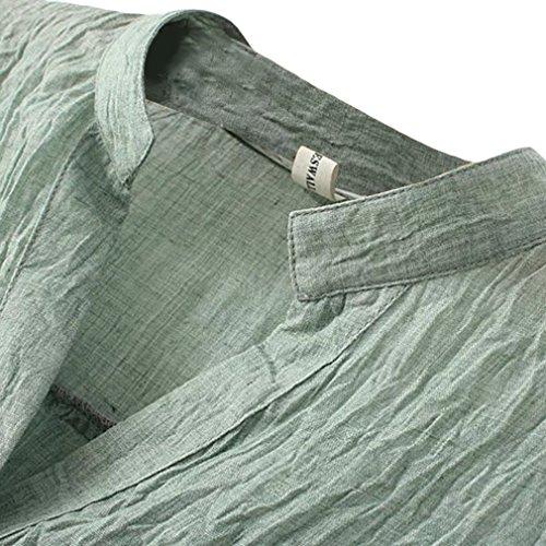 La vogue Damen V-Ausschnitt Langarm Loose Fit Blusen T-Shirt Grün