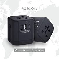 Universal Travel Adapter, SeCro International Power Adapter and Converter Charger with 2 USB+ 1PD(Type-C Quick Charging Port) European Plug Adapter All in one, Used in UK/US/EU AU/Asia(200 Countries) Black&Blue