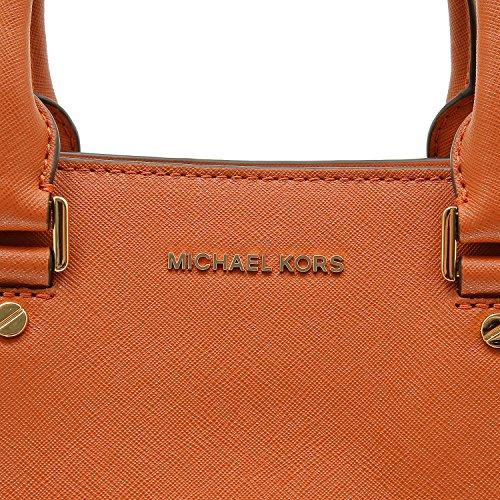 Borse Donna MICHAEL KORS savannah a mano e a tracolla removibile con lunghezza regolabile, in pelle saffiano, chiusura con due bottoni magnetici, una tasca centrale con zip Arancio