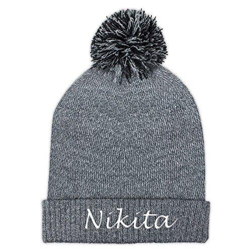 Pudelmütze mit Namen Nikita bestickt - Farbe Hellgrau - personalisierte Mütze,...