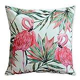 immagine prodotto Americana Cuscino Flamingos e foglia di palma arte moderna in cotone e lino federa cuscino decorativo cuscini Home Decor divano tiro copertura del cuscino 45 x 45 cm