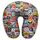 NAN TIAO Neck Pillow World Beer Bottle Caps Set - Super Cozy Memory Foam U-Shaped Pillow, Washable Neck Chin Head Cushion Support with Breathable Hidden Zip Cover for Neck Pain Relief