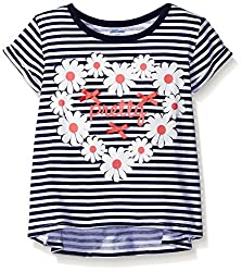 Gerber Graduates Little Girls' Toddler Short Sleeve Swing Top with Back Ruffle, Daisy Heart, 2T