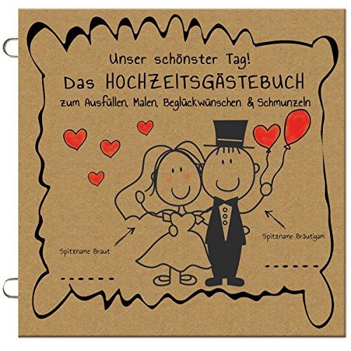 """50x \""""Das lustige HOCHZEITSGÄSTEBUCH\"""". zum Ausfüllen, Malen, Beglückwünschen & Schmunzeln, lustige Kraftpapier vintage Hochzeit Gästebuch Alternative mit Fragen, Gastgeschenk, Hochzeitsspiel (50 Stück)"""