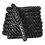 Display4top 38mm Battle Rope 9/12/15M Schwarz Fitness Trainingsseil Sportseil Schlagseil für Sprung- Kletterübungen oder Tauziehen (38mm * 15m)