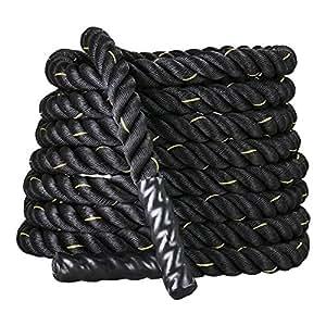 Display4top Battle Rope 9/12/15M Fune di Allenamento Φ 38MM Fitness Crossfit,Corda di Formazione per Potenziamento Muscolare Corpo (38mm * 9m)