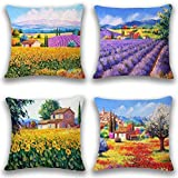JOTOM Morbido Cotone Lino Throw Pillow Case Cuscino 45 x 45cm Set di 4 (ruralità)