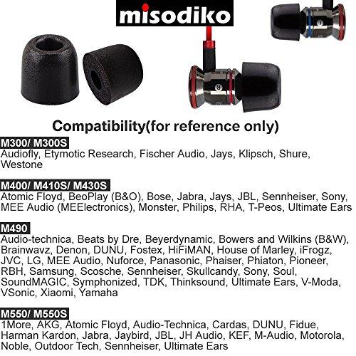 misodiko Memory Foam In-Ear Kopfhörer Ohrstöpsel - für Kopfhörer mit Ø 4,1mm - 5mm Inner Ear Nozzle Tips | Ersatz Schaum Tipps | Geräuschunterdrückung | M400, Ø4mm | 3Paar, S (Klein) - 6