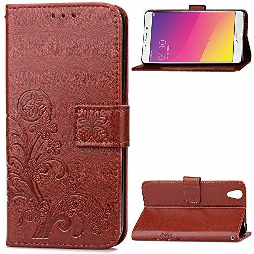 Kihying Hülle für Oppo R9 / Oppo F1 Plus Hülle Schutzhülle PU Leder Flip Wallet Fashion Geschäft HandyHülle (Brown - SD02)