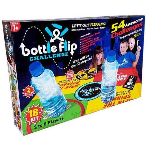 Toyland-Bottle-Flip-Challenge-Familien-Deluxe-Brettspiel-54-Flaschen-Flipping-Herausforderungen-Ideal-fr-Weihnachtsfeiern-2-6-Spieler-18-PC-Set