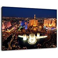 Las Vegas skyline at night Size: 80x60 cm Image strung on canvas, huge XXL images completely finished and framed with stretcher, Art print on wall picture with frame, cheaper than painting or picture, no posters or poster