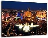 Las Vegas Skyline bei Nacht Format:120x80 cm Bild auf Leinwand bespannt, riesige XXL Bilder komplett und fertig gerahmt mit Keilrahmen, Kunstdruck auf Wand Bild mit Rahmen, günstiger als Gemälde oder Bild, kein Poster oder Plakat