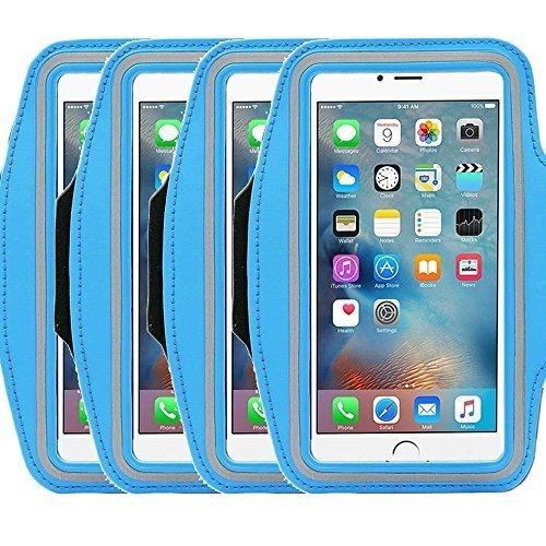 Universal Sportarmband casehigh Shop leicht Montage Sports Sportarmband mit bauen in Bildschirm schützen Fall für kratzfeste Material Slim Leichtes, armband blue 4pack -