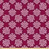 ABAKUHAUS Rinascimento Tessuto a Metraggio, Victorian Flower Damasco, Tessuto in Microfibra per Arte e Artigianato Tessili & Decor, 5M (160x500cm), Rosa Ruby Baby