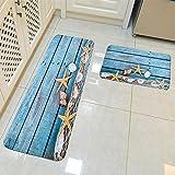 HROOME Moderne Flanell 3D Quadratisch Teppich Läufer Set Antirutschfeste Fußmatte Bereich Eingang Matte Teppiche Vorleger 2 Stück 40x60cm 40x120cm für Küche Badezimmer Wohnzimmer (Strand-1)