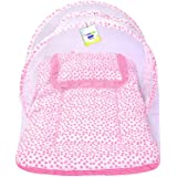Toddylon Baby Net Bed with Mosquito Net and Soft Pillow Pink (0-6 Monts)