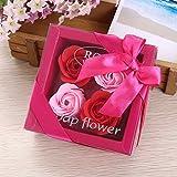 Flores artificiales atención de la salud herramienta para decoración de la boda, jabón de flor de decoración para el hogar, regalo para el día de la madre, día del padre, día de San Valentín caja de regalo 4rosa jabón de flor rosa, rojo + rosa