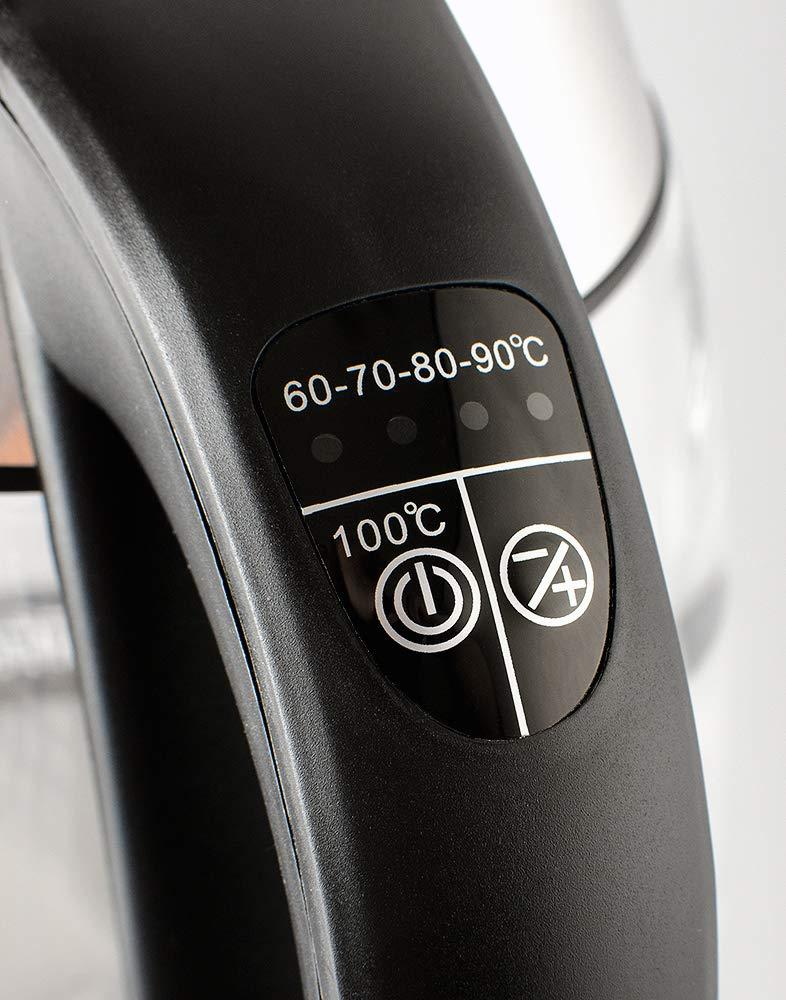 ForMe-Glas-Wasserkocher-18-L-LED-Beleuchtung-Teekessel-Metallteile-Glaskessel-mit-Edelstahl-Boden-BPA-Frei-Warmhaltefunktion-Temperatur-einstellbar-Temperaturwahl-60-100C