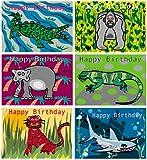 Boys birthday cards, six top quality animal designs tiger, shark, gorilla and lizard birthday cards