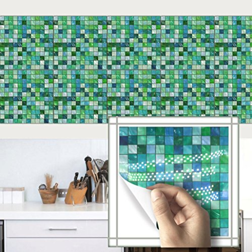 Winkey 10Pcs Mosaic Square Self Adhesive Tile PVC Stickers Decal Home Decor (G)