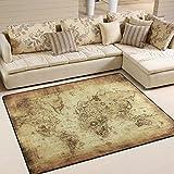 ingbags Super Weich Modern Vintage Weltkarte, ein Wohnzimmer Teppiche Teppich Schlafzimmer Teppich für Kinder Play massiv Home Decorator Boden Teppich und Teppiche 160x 121,9cm