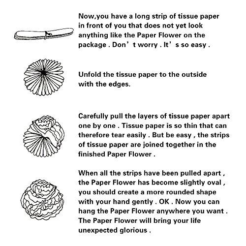 Seidenpapier Pom-Poms 18 Stück – schwarz, gold, silber - 6