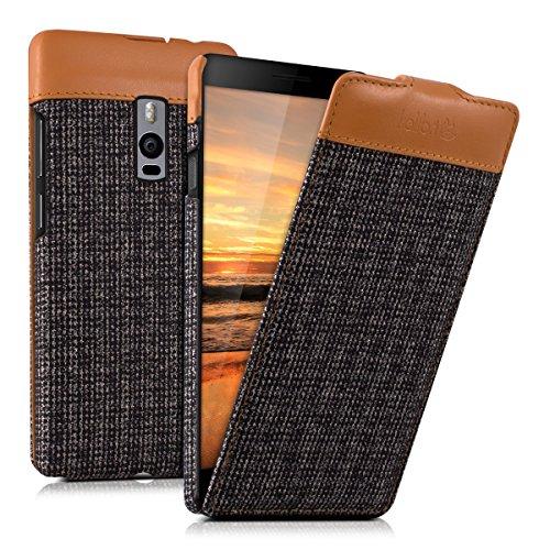 kalibri Flip Case Hülle Emma für OnePlus Two - Aufklappbare Stoff & Echtleder Schutzhülle Tasche im Flip Cover Style in Braun Anthrazit