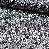 Brittschens Stoffe und Zutaten Stoff Meterware Baumwolle beschichtet Leonie Mandala Ornamente dunkelblau 50 x 135cm