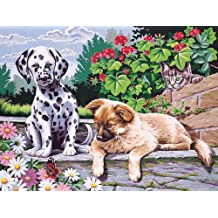 Paint By Number Kit 12''X16''-Dogs Watching Paint By Number Kit 12''X16''-Dogs Watching