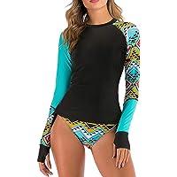 Sidiou Group Costumi da Bagno Tankini Donna Maniche Lunghe Geometrici Asimmetria Stampa Costume da Bagno Surf Bikini…
