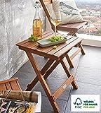 SAM Mesita en madera de acacia, lijada en superficie, mesa plegable ideal para balcón, terraza y...