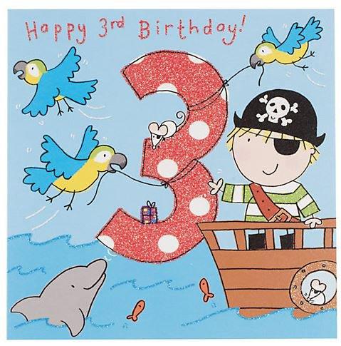 Super Twizler biglietto 3° compleanno per maschietto con pirata  AD52