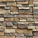 Hexawata 1PC PVC Self Adhesive Wallpaper Waterproof Brick Stone Decorative Wall Stickers 45cmx100cm