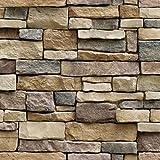 #2: Hexawata 1PC PVC Self Adhesive Wallpaper Waterproof Brick Stone Decorative Wall Stickers 45cmx100cm
