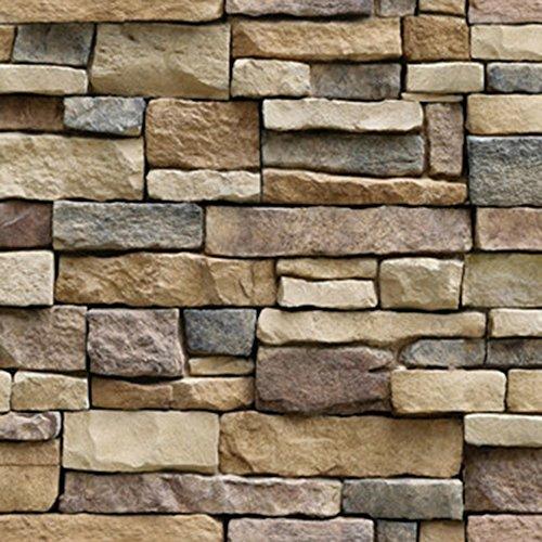 Hexawata PVC Self Adhesive Wallpaper Waterproof Brick Stone Decorative Wall Stickers 45cmx100cm (Style A)