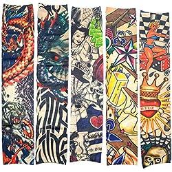 10 PC FalsoTatuajeTemporal Mangas Cuerpo Protector Solar de Arte Medias Accesorios, Tribal, Dragon, Calavera y Etcetera.